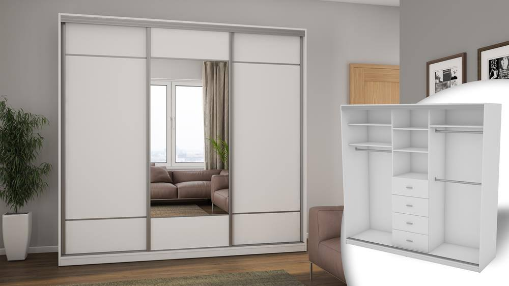 Szafa 3D 230, korpus - biel arktyczna, front - biel arktyczna. Wersja z lustrem1