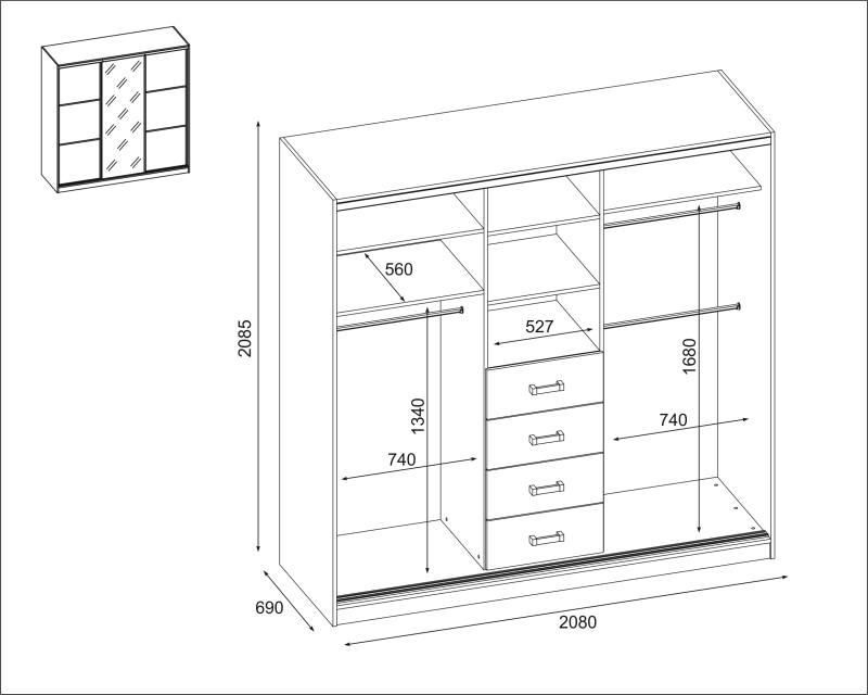 Szafa 3D-210 - SZKIC