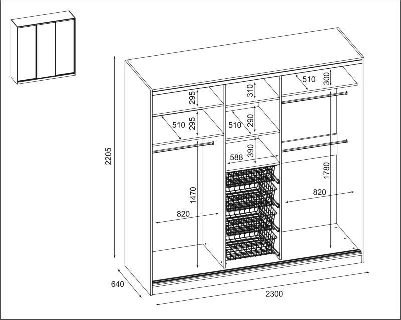Szafa 3D-230 wersja kosza - SZKIC