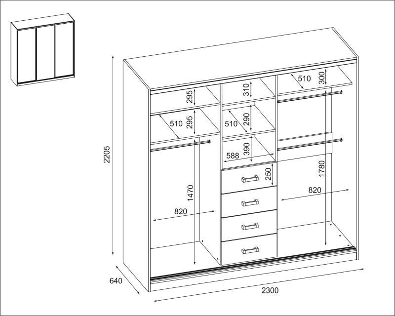 Szafa 3D-230 wersja szuflada - SZKIC