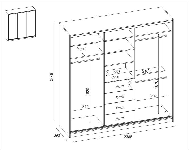 Szafa 3D-240 - SZKIC